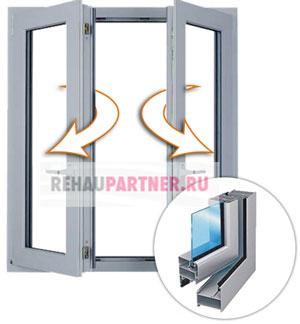 Распашные алюминиевые окна на лоджию