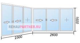 Цены на остекление балкона раздвижными окнами Provedal
