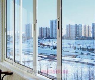 Алюминиевое остекление балкона П-44