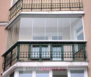 Безрамное остекление балкона серия П-44
